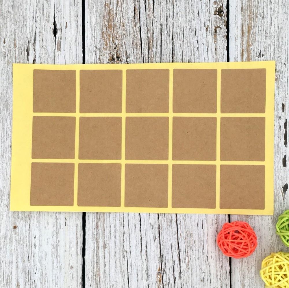 150Pcs Blank Kraft Empty Square Graffiti Handmade Sealing Label Kraft Sticker Cake Baking DIY Work Paper Gift Box Stickers