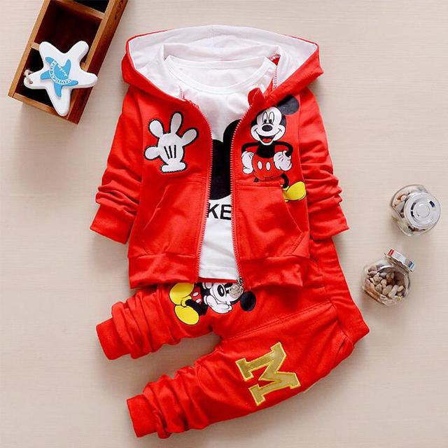 2016 Otoño Ropa de Niños Sets Niños Niñas Ropa de Navidad de Mickey Minnie Embroma la Ropa Coat + t-shirt + Pants 3 UNIDS Ropa Conjuntos