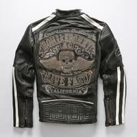 Men's Genuine Leather Jacket New Skulls Motorcycle Biker Vintage Soft Thick Cowhide Jacket Male Luxury Brand Designer Coat