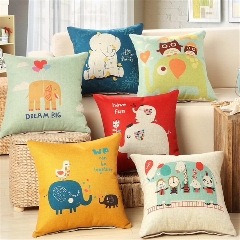 Love & happiness pillowcase cover home decoration cute cartoon baby elephant birthday cushion cover for sofa office Meditation