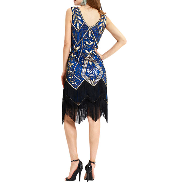 Layered Fringe Sequin Lace Party Dress Women Tassel Vintage Sheath Bead Flapper Party Dress Skinny Knee Length Dresses L3