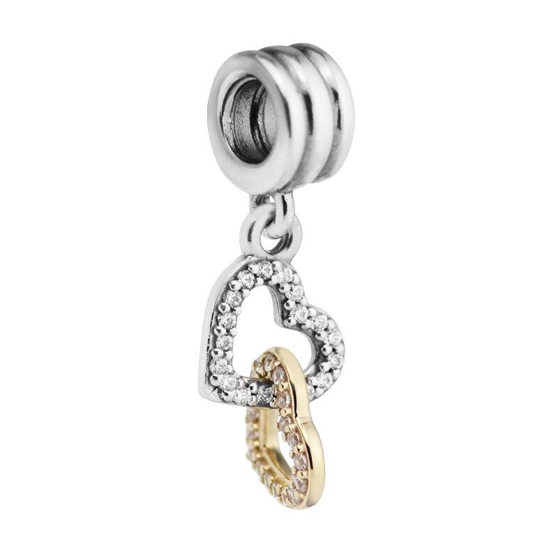 Серебряные бусины Подходит Pandora браслет оригинальный 925 100% стерлингов серебряные ювелирные изделия взаимосвязанные сердца висит DIY изготов