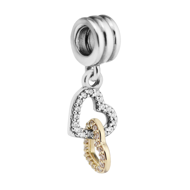 Silver beads Fits Pandora Bracelet Original 100% 925 sterling silver jewelry Interlocked Hearts Hanging DIY making K98909 strollgirl car keys 100% sterling silver charm beads fit pandora charms silver 925 original bracelet pendant diy jewelry making