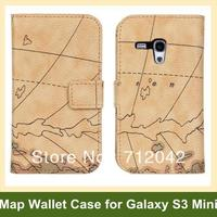 Fashion World Map Pattern PU Leather Wallet Flip Cover Case For Samsung Galaxy SIII S3 Mini