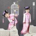 Azul y rosa de la dinastía Qing pequeña disfraz de princesa para hermanas gemelas o mercancías amigos fotografía o día del niño rendimiento