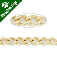 4 8MM 3 2MM Brass 14K Gold Plated Twist Oval Chain Handmade Sold 25 Meters Per