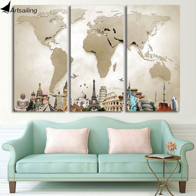 Hd printed 3 piece canvas art vintage world map painting room decor hd printed 3 piece canvas art vintage world map painting room decor framed large canvas prints gumiabroncs Gallery
