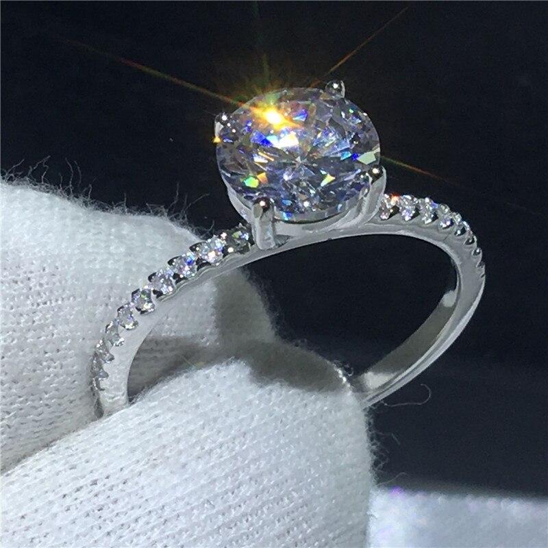 Solitaire bague 100% Soild 925 Sterling argent Promesse AAAAA Zircon cz Croix Engagement wedding band anneaux pour les femmes Cadeau