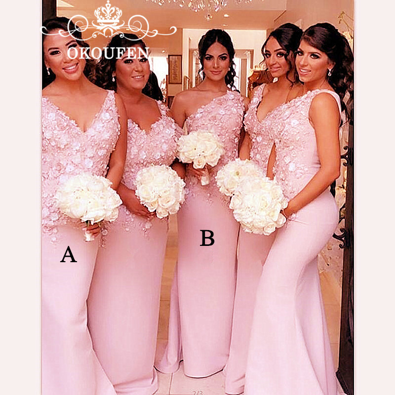 Chic 3D-Floral Appliques Mermaid   Bridesmaid     Dresses   2019 Pink Satin One Shoulder V Neck Lace Party   Dress   Maid Of Honor For Women