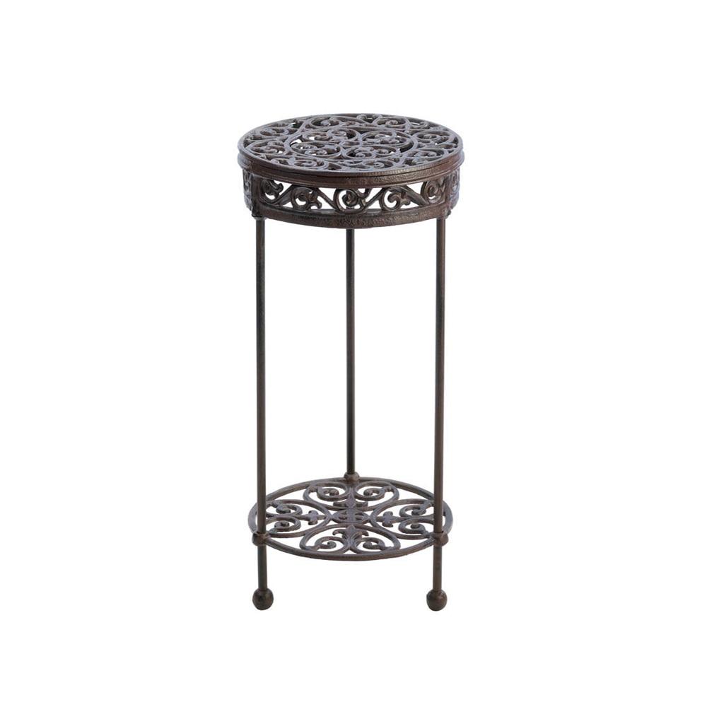 Koehler Home Decorative Cast Iron Plant Stand - Round flourishing round plant stand