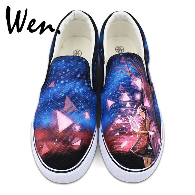 Wen Custom Hand Painted Canvas Shoes Blue Sky Stars Diamond Girl Design Slip on Sneakers for Man Woman wen hand painted shoes design custom skull zombie men women s high top canvas sneakers for christmas gifts