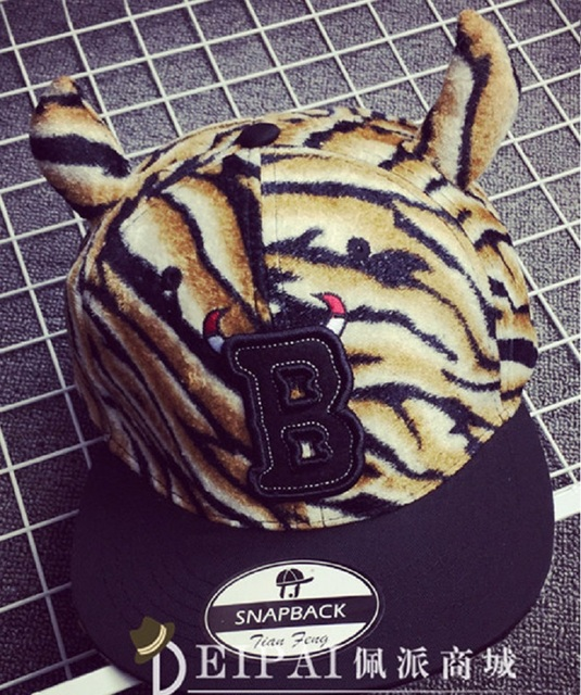 Мода тенденция новое поступление мужская леопардовый уличные танцы хип-хоп шапочка мультяшный пальца-восстановительные хорн-образный snapback шапки