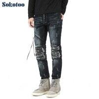 Prezzo speciale! foro strappato pieghe jeans biker Moda casual da uomo patchwork in pelle PU patch slim denim pantaloni Lunghi pantaloni