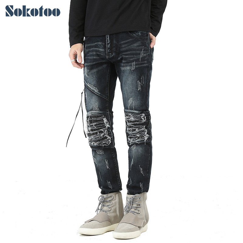 Sokotoo Men's casual hole ripped pleated biker jeans Fashion patchwork PU leather patch slim denim pants Long trousers 2017 new men s fashion vintage zipper patch hole ripped biker jeans slim straight stretch denim pants long trousers