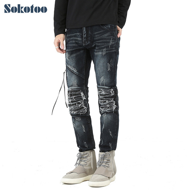 df5653de Men's casual hole ripped pleated biker jeans Fashion patchwork PU leather  patch slim