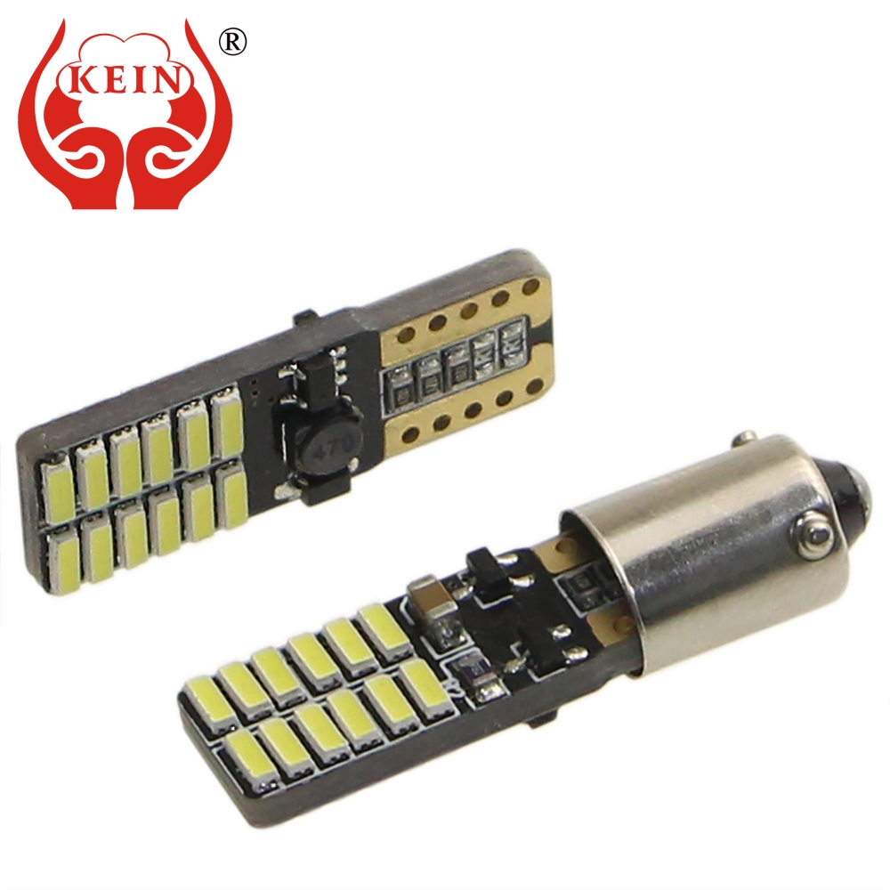 KEIN 2PCS 24SMD T10 w5w H21W bay9s bax9s H6W ba9s membawa kereta 4014 T4W Clearance Light Interior Parking Tail Lamp Rear fog Bulb auto