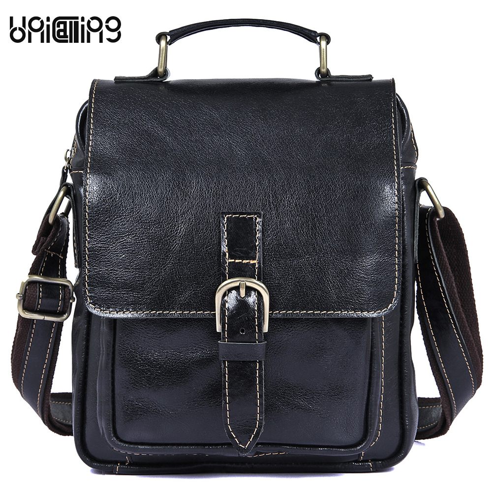 Genuine Leather men messenger bags Retro lie fallow handiness small shoulder bags fashion solid color cow leather handbags new style messenger bag men leather top grade all match hasp fashion retro cow leather men bag solid color small shoulder bags