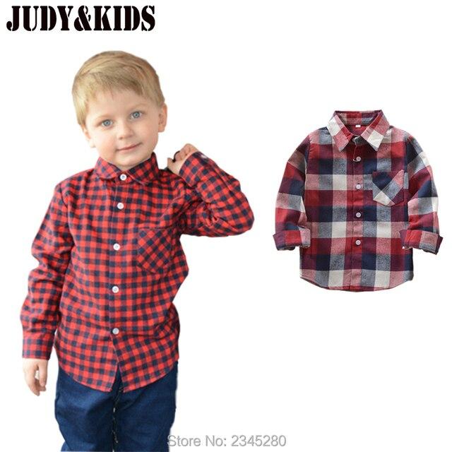 ec3879aa4 Para Niños Niñas bebé Camisas cuadros muchacho niño algodón blusa Tops  marca Polo manga larga escuela