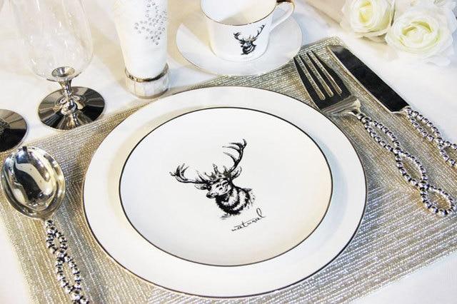 Bone china/dinnerware sets/Deer head/Ceramic decorative plate/tableware/ decoration & Bone china/dinnerware sets/Deer head/Ceramic decorative plate ...