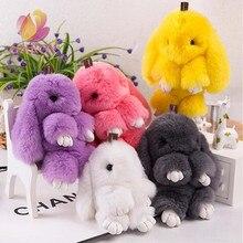 13cm Cute Mini Genuine Rabbit Fur Pom Pom KeyChain Women Trinket Rabbit Toy Doll Bag Car Key Ring Monster Keychain Jewelry Gift