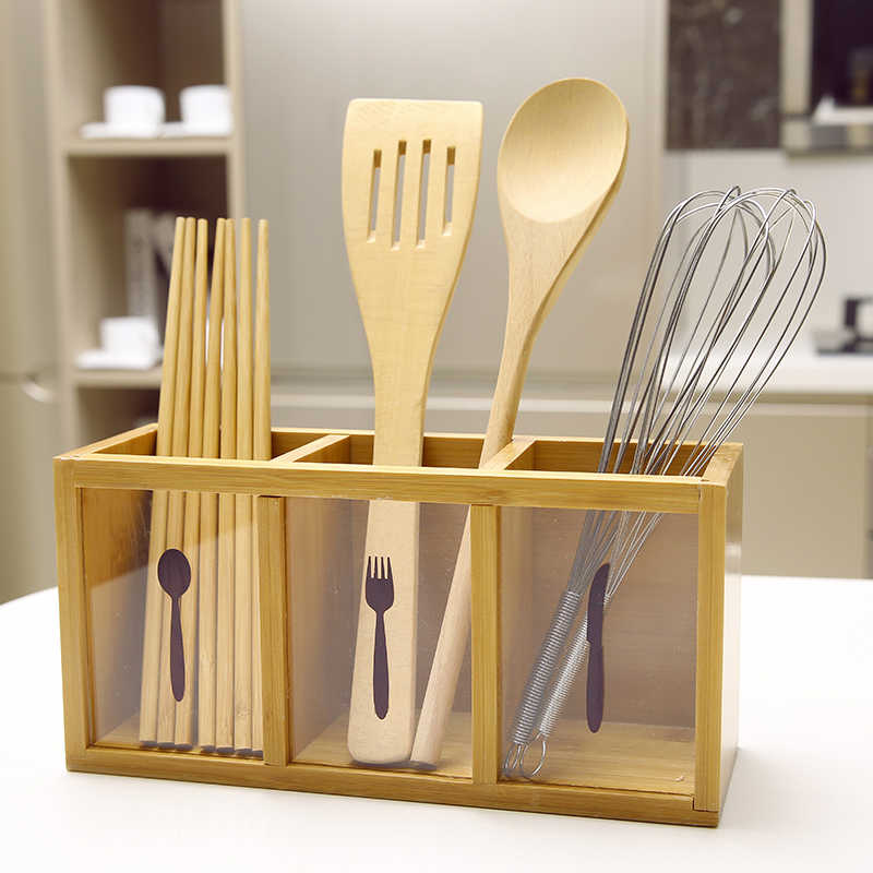 Multifunctional Bamboo Racks Lek Spoon Chopsticks Storage Box Tableware Storage Tube Friendly Japan Style Kitchenware