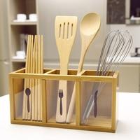 Multifunctional Bamboo Racks Lek Spoon Chopsticks Storage Box Tableware Storage Tube Friendly Japan Style Kitchenware