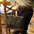 Homens da moda crazy horse pu maleta bolsa de negócios bolsa de ombro mensageiro saco de computador de 14 polegadas laptop saco marrom ou preto