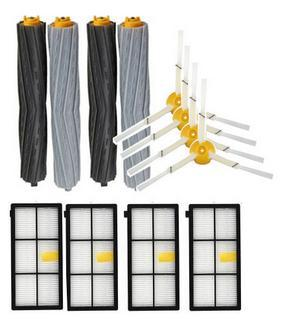 12pcs/lot parts 2set Tangle-free Debris Extractor+4 Hepa Filters +4 Side Brushes Replacement Kit for Irobot Roomba 870 880 980 total 12pcs filters
