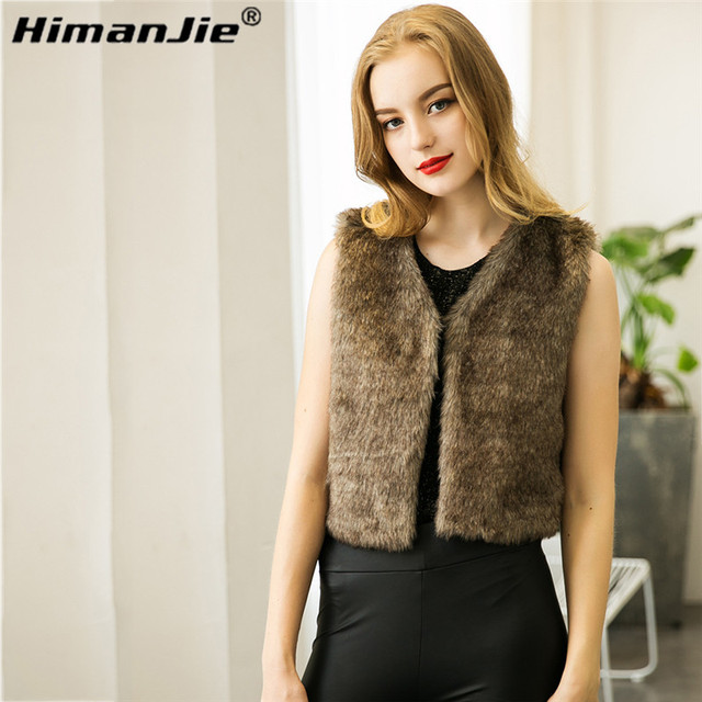 HimanJie hairy wild women fur Vest Coat  High-Grade Faux Fur Coat fashion short soft fur vest coat for women lady free shipping