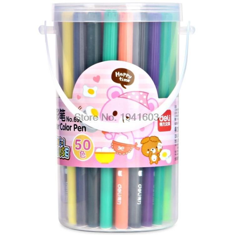 2017 One Barrel (50 Colors) Child Colorful Water Color Pen Brush Marker Highlighter Stationery / barrel Deli 6988 38mm cylinder barrel piston kit
