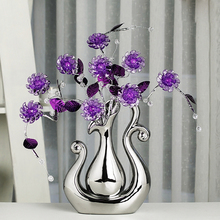 цена на Top quality Crystal flower fashion Home Decoration creative ceramic vase figurines and Miniatures manual Crafts Wedding Gifts