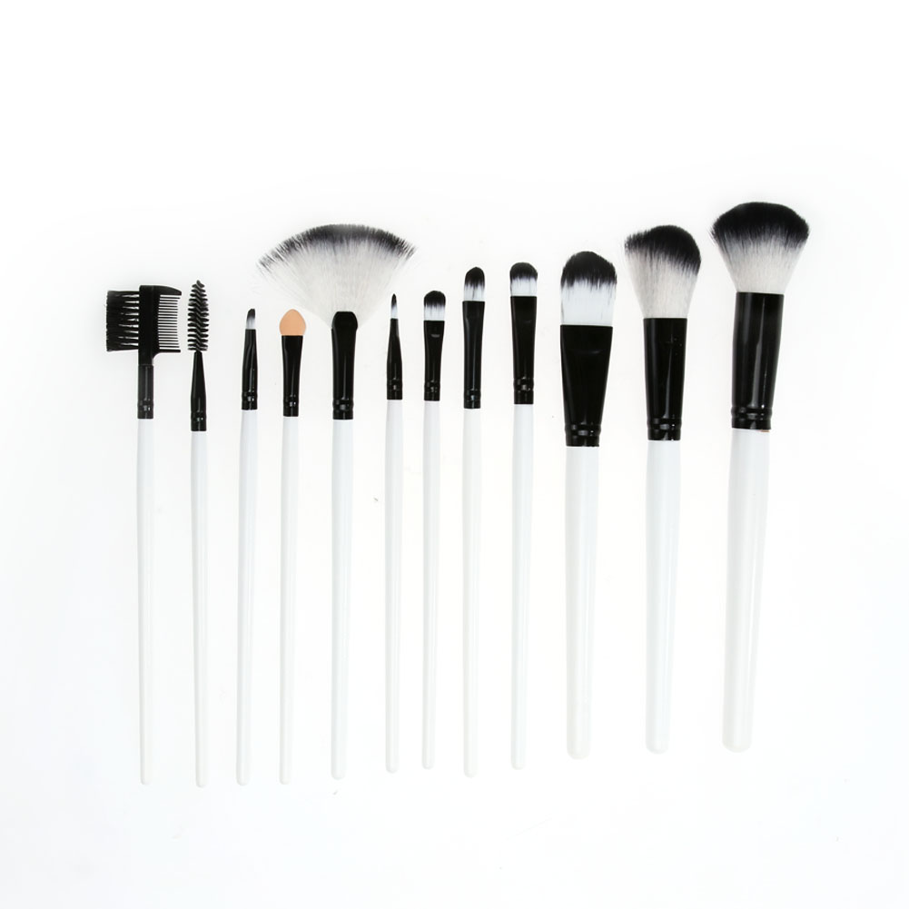 12pcs White Makeup Brushes Professional Eyeshadow Blush Makeup Brush Set with Cosmetic Bag 10pcs white professional makeup brush set