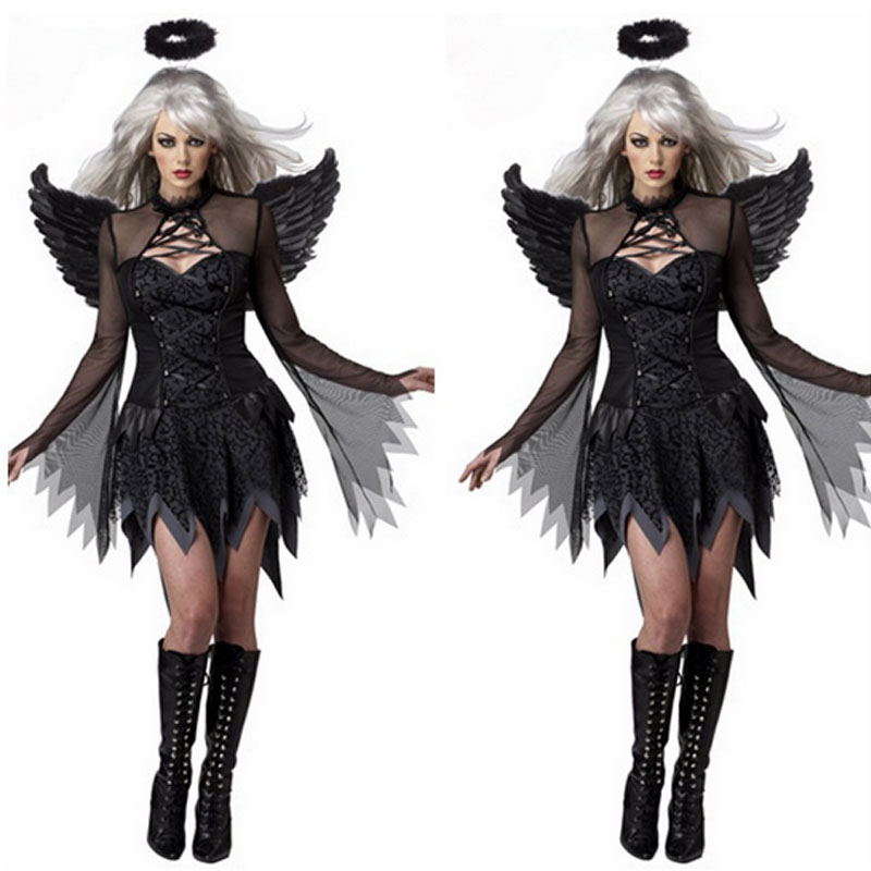 Style Women Sexy Black Devil Demon Angel Cosplay Outfit Wing Headband  Clothing Set  costumes for women  Christmas Halloween