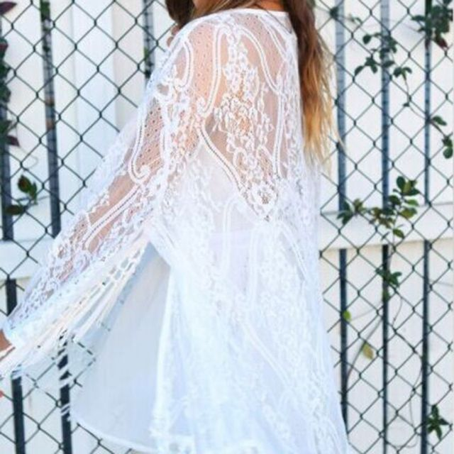 Women Hot Now Boho Fringe Lace Kimono Cardigan Tassels Long Sleeve Beach Cover Up Cape Tops Blouses vadim*