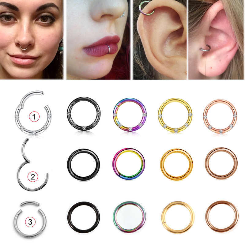 1PC 16G Steel Segment Ring Nose Rings Piercing Captive Ear Nose Hoop Tragus Piercing Clip on Ear Ring Piercing Body Jewelry