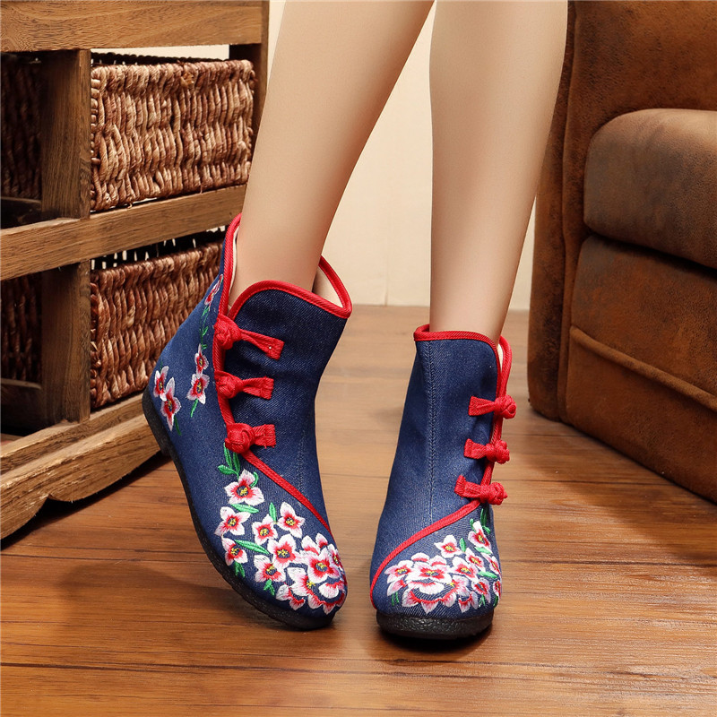 2017 Fashion Chinese Style Women Shoes Old Beijing Mary Jane Shoes Flats Canvas Round Toe