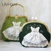 LilyHood 2018 Women Shabby Chic Lace Shoulder Bag Handmade Vintage Retro  Victorian Wedding Kiss Lock Frame 7357ce9e2973