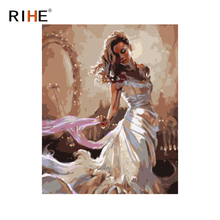 RIHE Dress Girl Oil Painting By Numbers Belle Park Cuadros Decoracion Acrylic Paint On Canvas For Artwork Modern Home Decor 2018