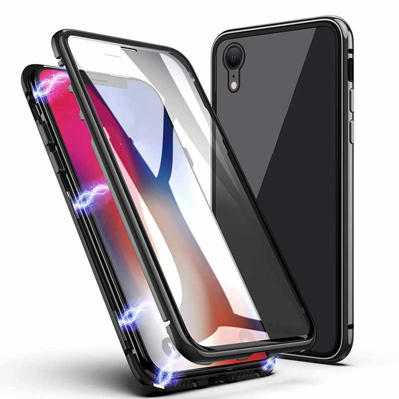 Фото Магнитные Металлические чехол для iphone 7 8 10 X XS Plus XR MAX чехлы из закаленного стекла