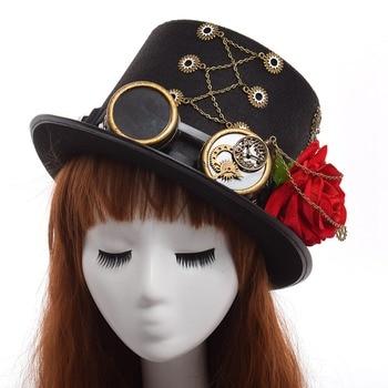 Шляпа в стиле стимпанк с очками и розой