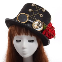 Punk Unisex Party Black Hat Vintage Steampunk Gear With Gothic Glasses Top Hat