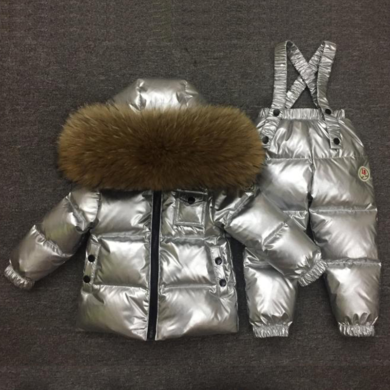 Girls Child Wadded Jacket Outerwear Clothing Baby Boys Girls Silver Suit Children Winter Down Jacket Girls Parka Clothing Set-in Clothing Sets from Mother & Kids