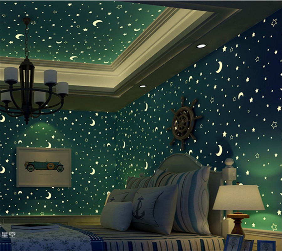 Aliexpress Com Buy Beibehang Wallpaper 3d Blue Star Moon