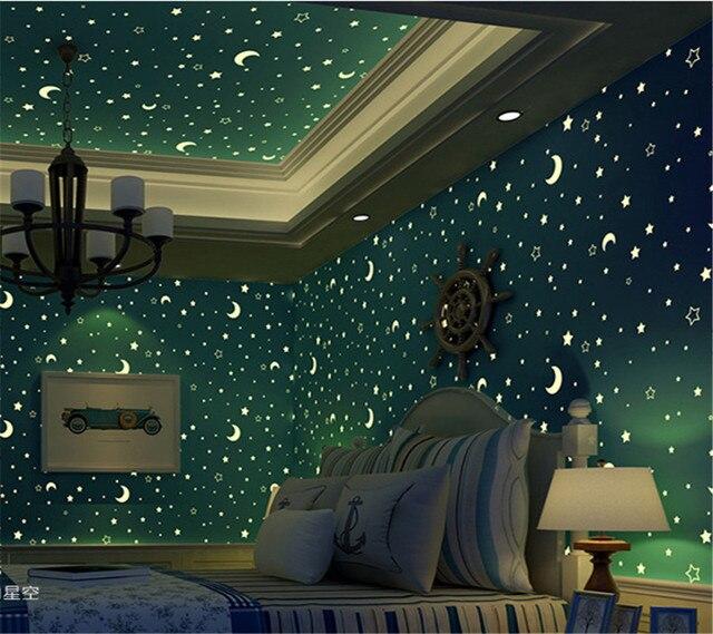 Moon Lights Bedroom: Beibehang Wallpaper 3D Blue Star Moon Light Wallpaper