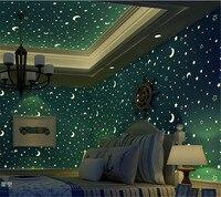Beibehang wallpaper 3D blue star moon light wallpaper children ceiling decoration fluorescent children bedroom 3d wallpaper roll