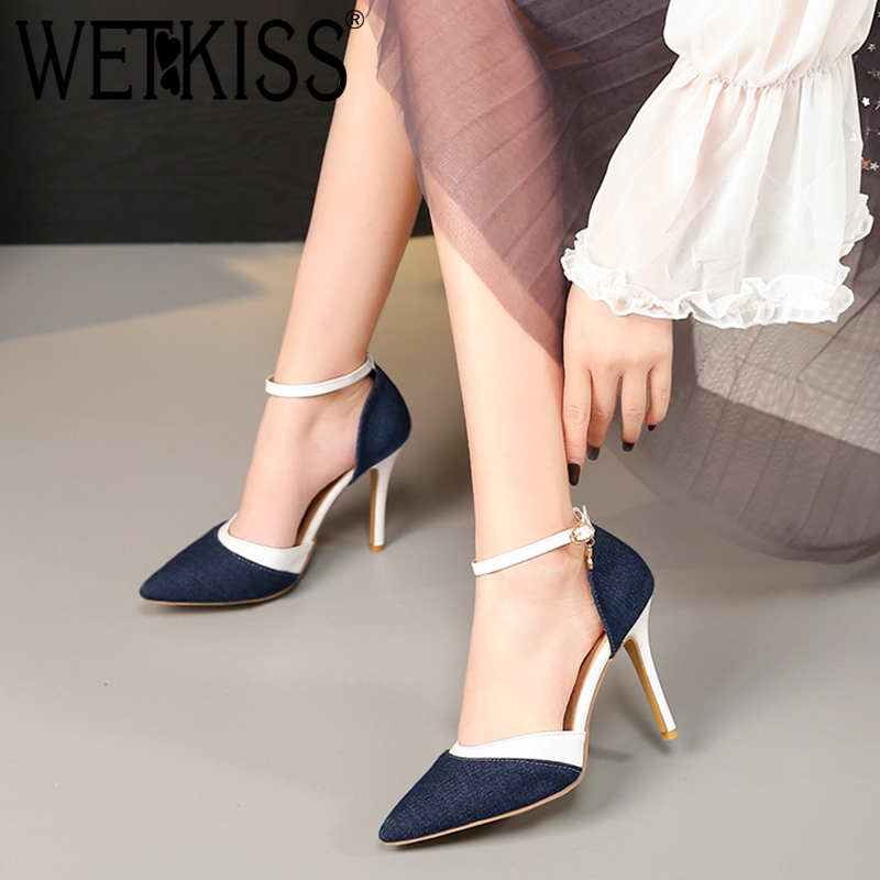 WETKISS Female Sandal High-Heels Footwear Ankle-Strap Denim Shoes Pointed-Toe Plus-Size