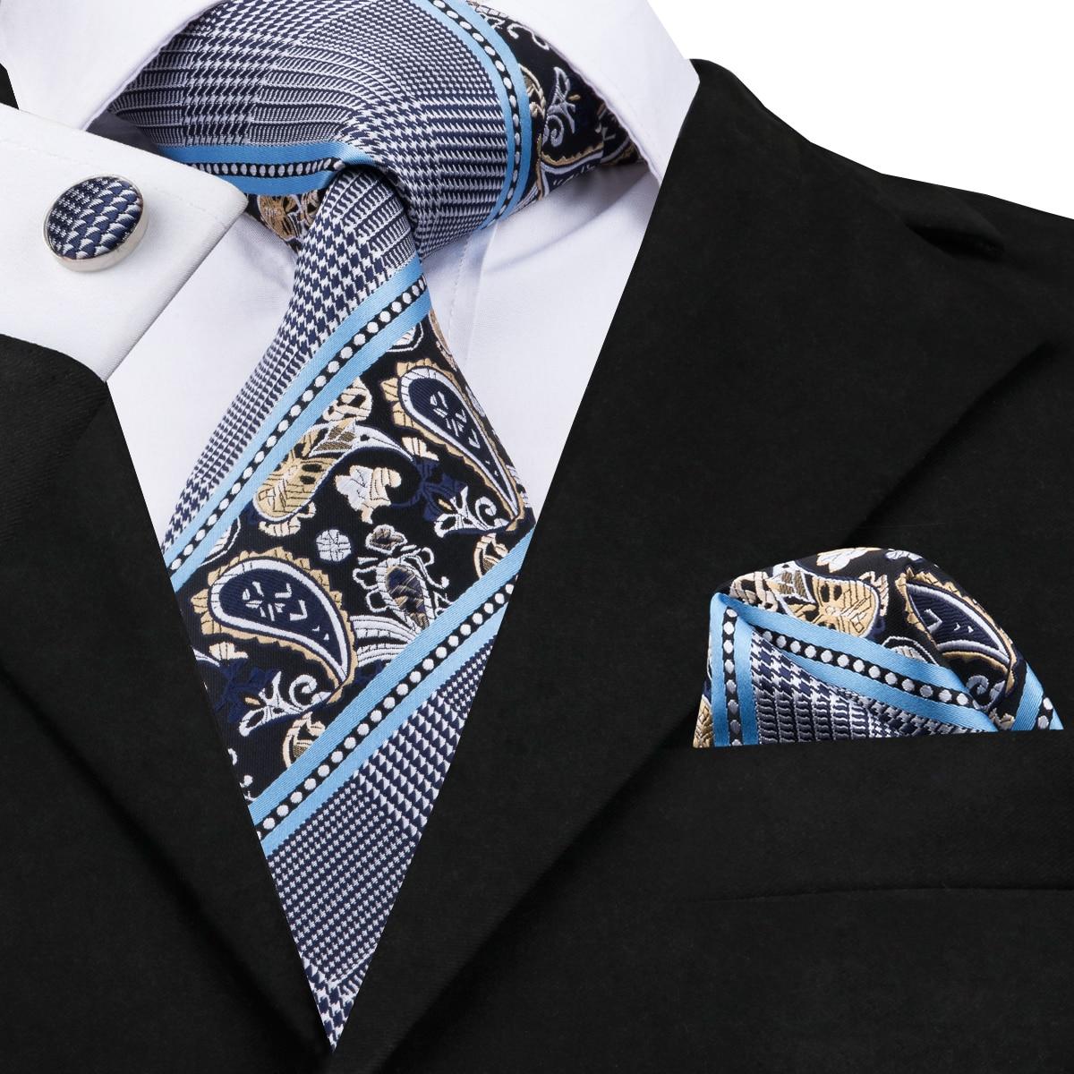 C-1641 Hi-Amarrar 2017 Gravata Listrada Laços para Homens Gravatás 8.5 cm 100% Hand-Made Gravata De Seda Abotoaduras lenço Tecido Jacquard