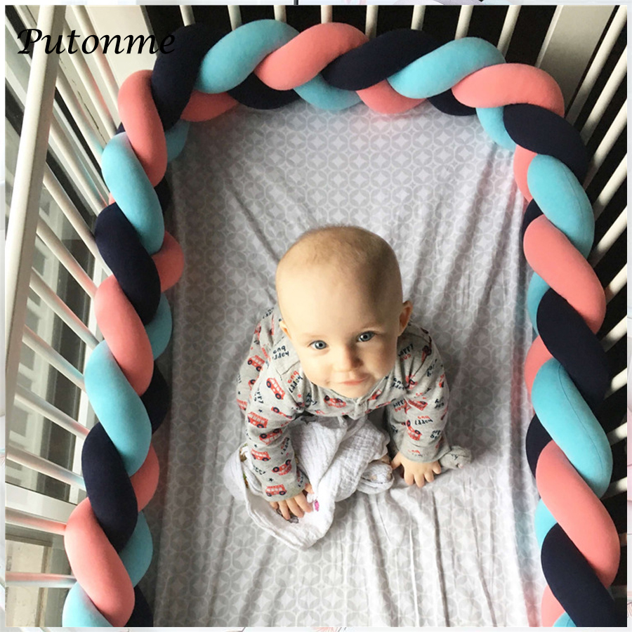 Putonme 3M Length Nodic Knot Newborn Bumper Long Knotted Braid Pillow Baby Bed Bumper in the Crib Infant Room Decor 2m length nodic knot newborn bumper long knotted braid pillow baby bed bumper in the crib infant room decor