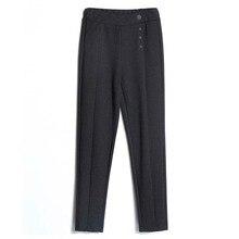 Hot Sales 2018 Female Classic High Elastic Waist Harem Pants Women Fashion Slim Solid Color button Ankle-length Pencil Pants