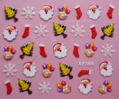 Wholesale 3D Christmas Sticker Nail Art Decals Decoration, 24 Style Available, 100pcs/lot + Free Shipping